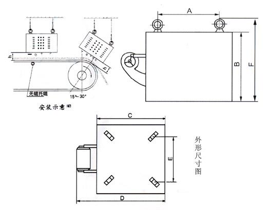风冷式电磁除铁器 -外形图